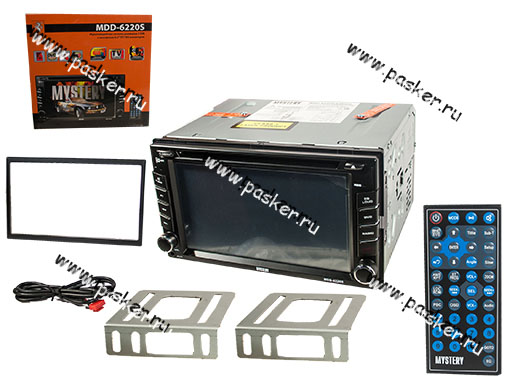 Автомагнитола 2DIN MYSTERY DVD/MP3/USB/SD/MMC/TV 4х50Вт MDD-6220S с 6,2 монитором пульт